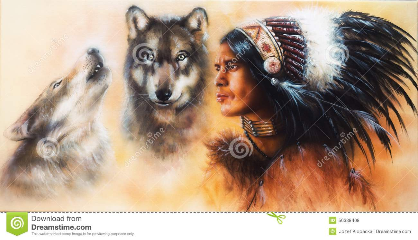 Pintura hermosa del aerógrafo de un accompani indio joven del guerrero