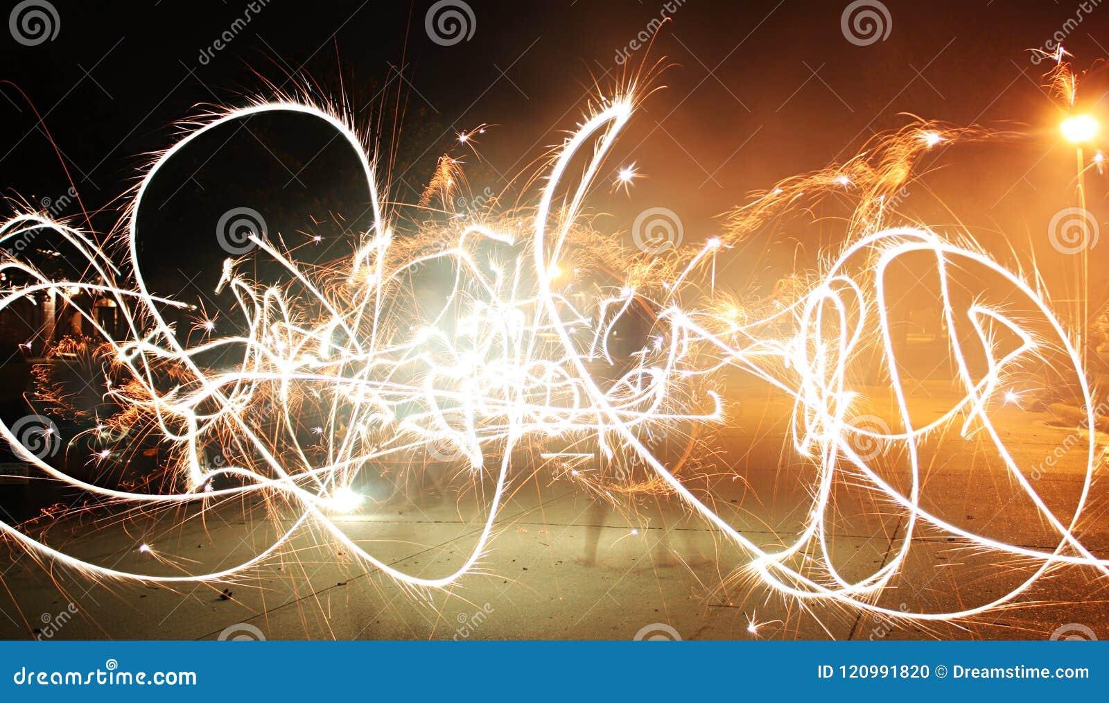 Pintura ligera de los fuegos artificiales de la bengala