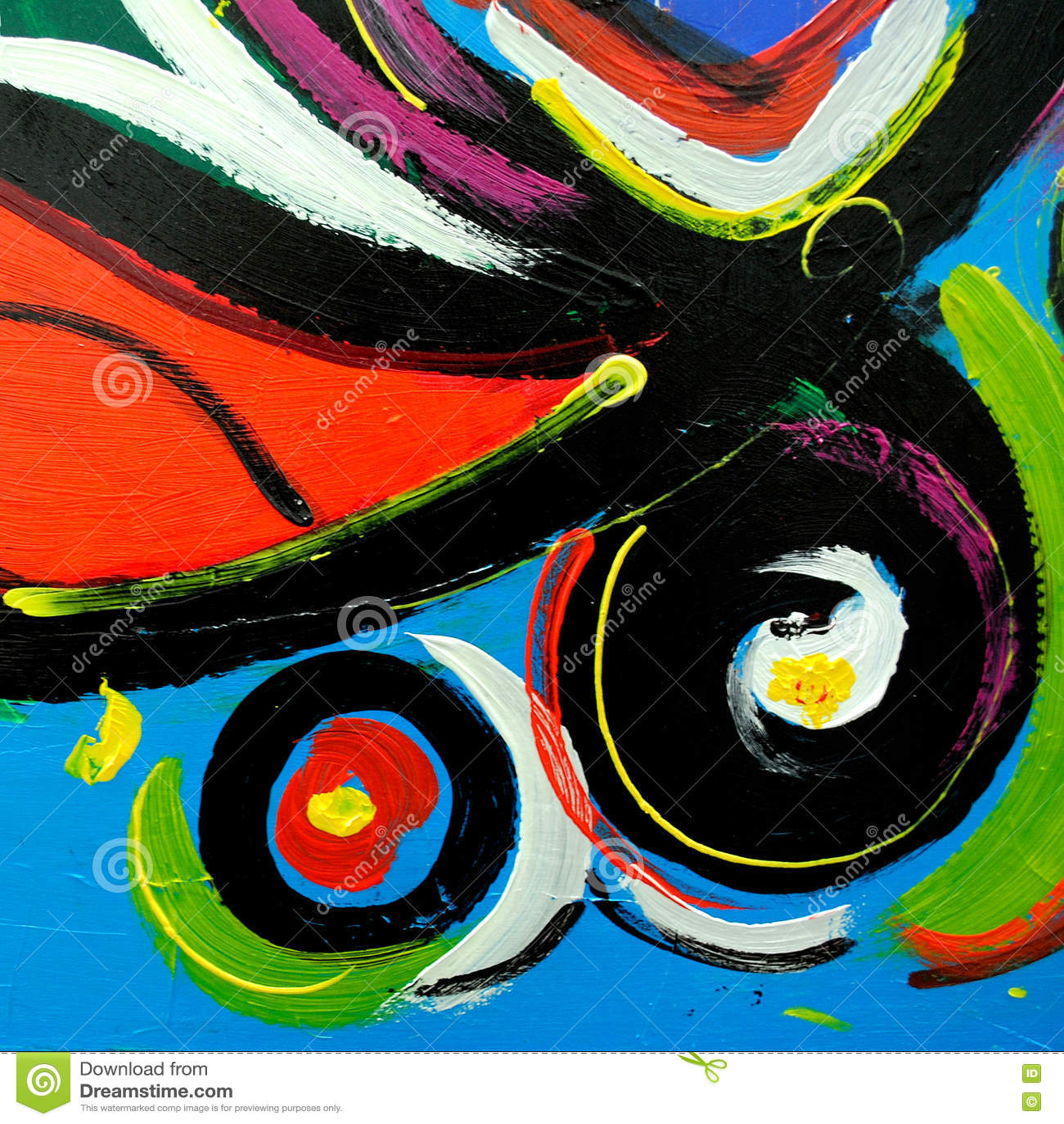 Pintura moderna abstrata pelo óleo na lona para o interior, illust