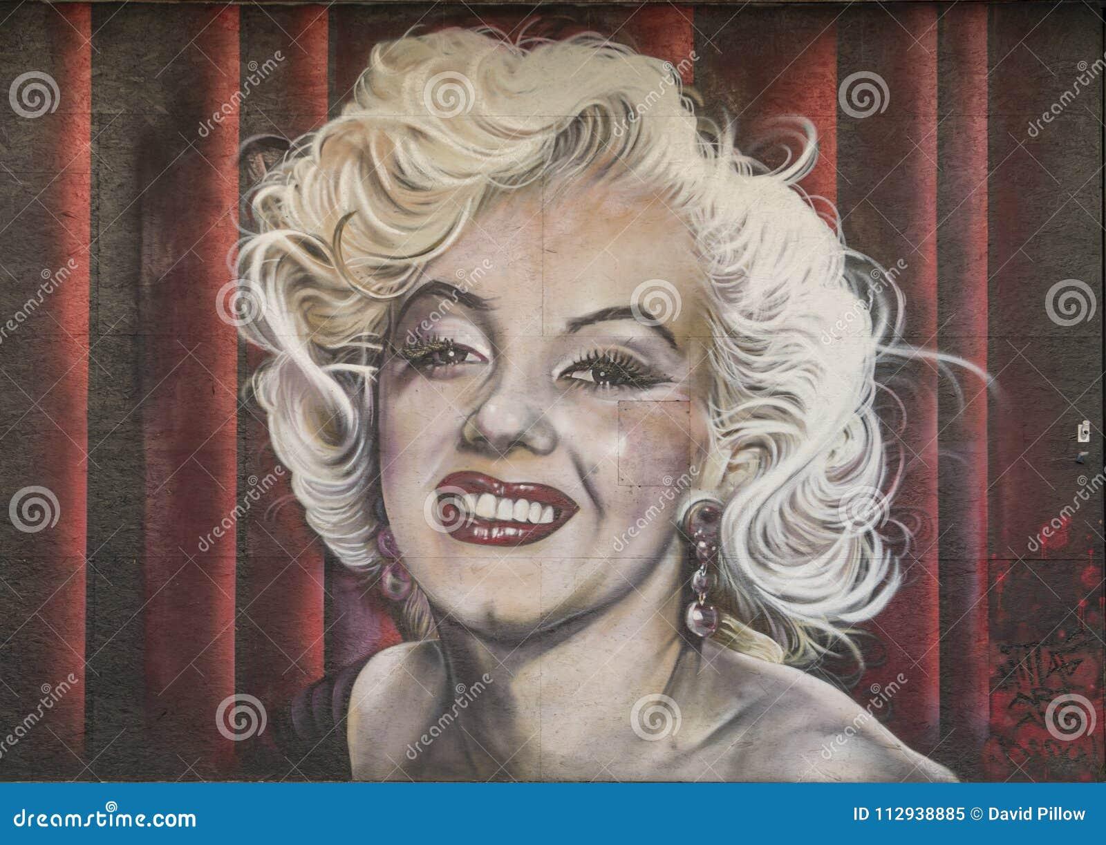 Pintura mural de Marilyn Monroe, bispo Arts District, Dallas, Texas