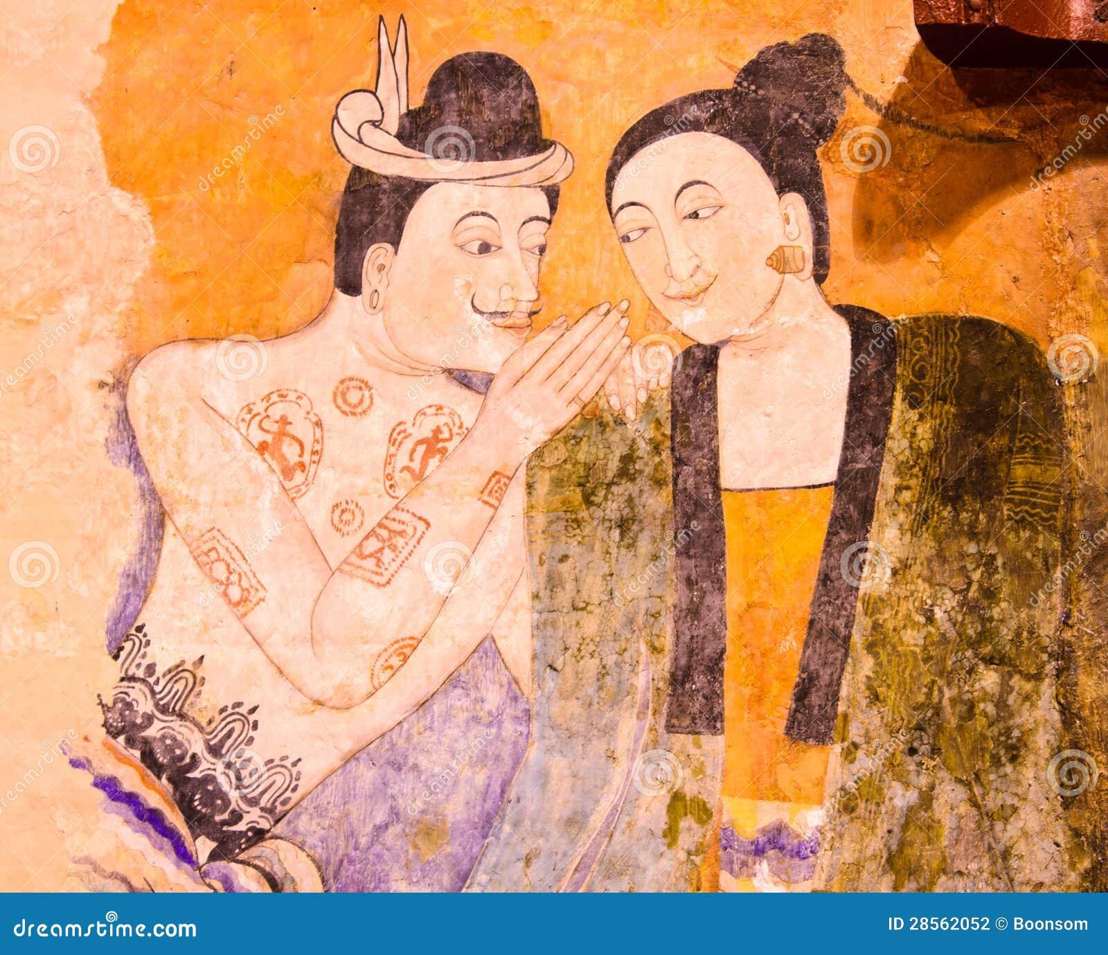 Pintura mural famosa tailandesa