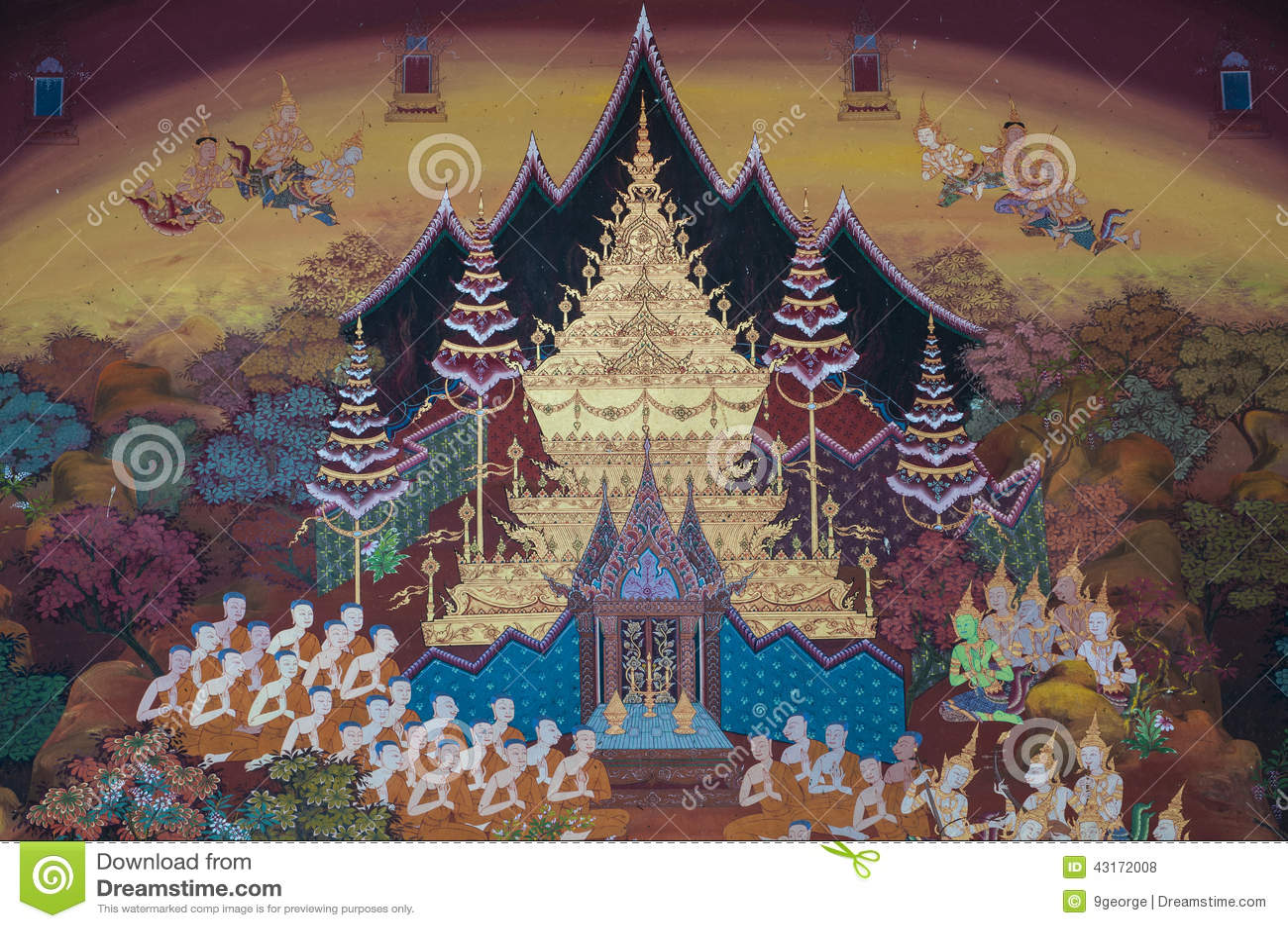 Pintura mural tailandesa en la pared wat pho bangkok - Pintar mural en pared ...