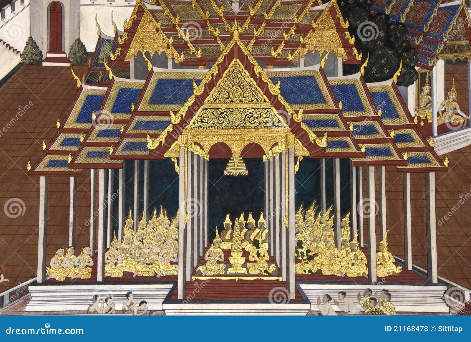 Pintura mural tailandesa en la pared wat phra kaew fotos - Pintar mural en pared ...