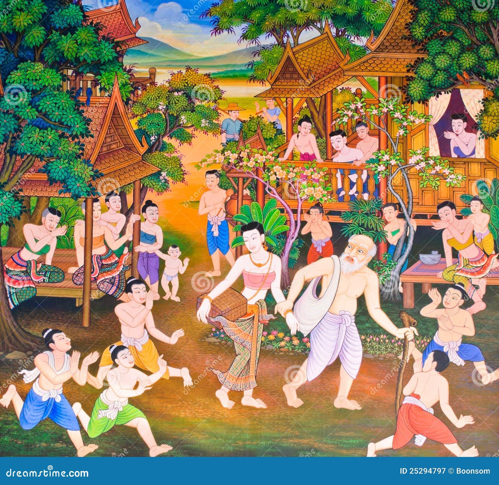 Pintura mural tailandesa tradicional