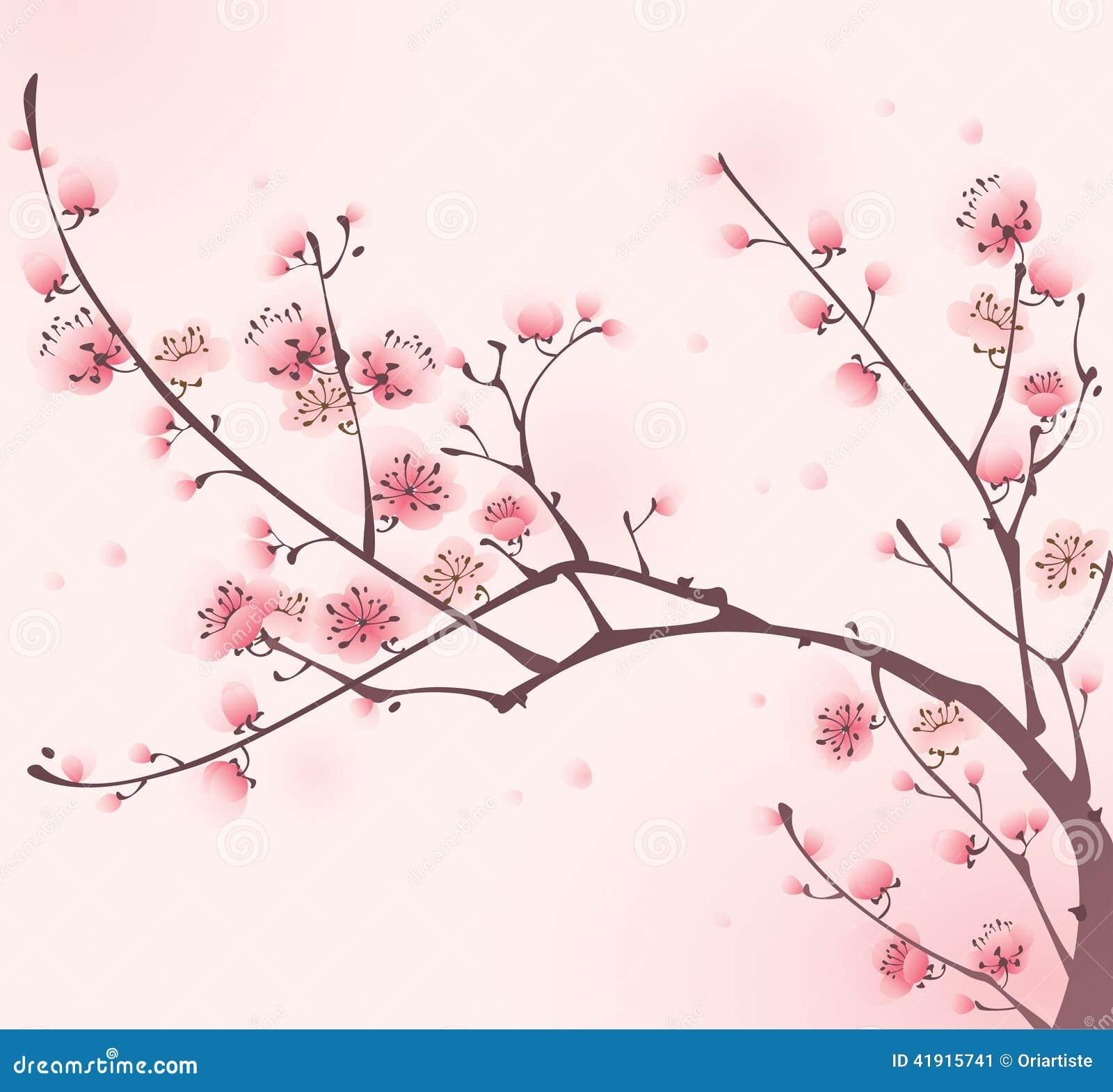 Pintura oriental del estilo, flor de cereza en resorte