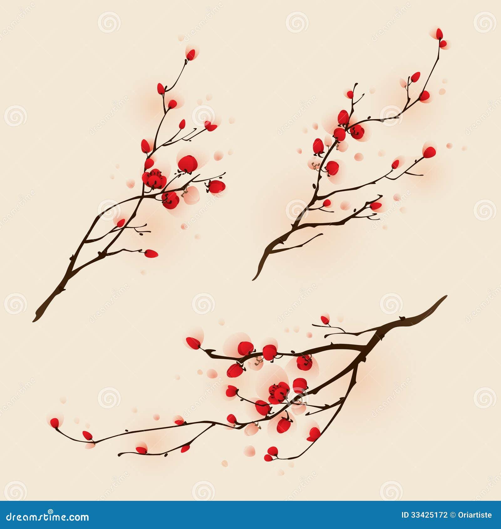 Pintura oriental del estilo, flor del ciruelo en primavera