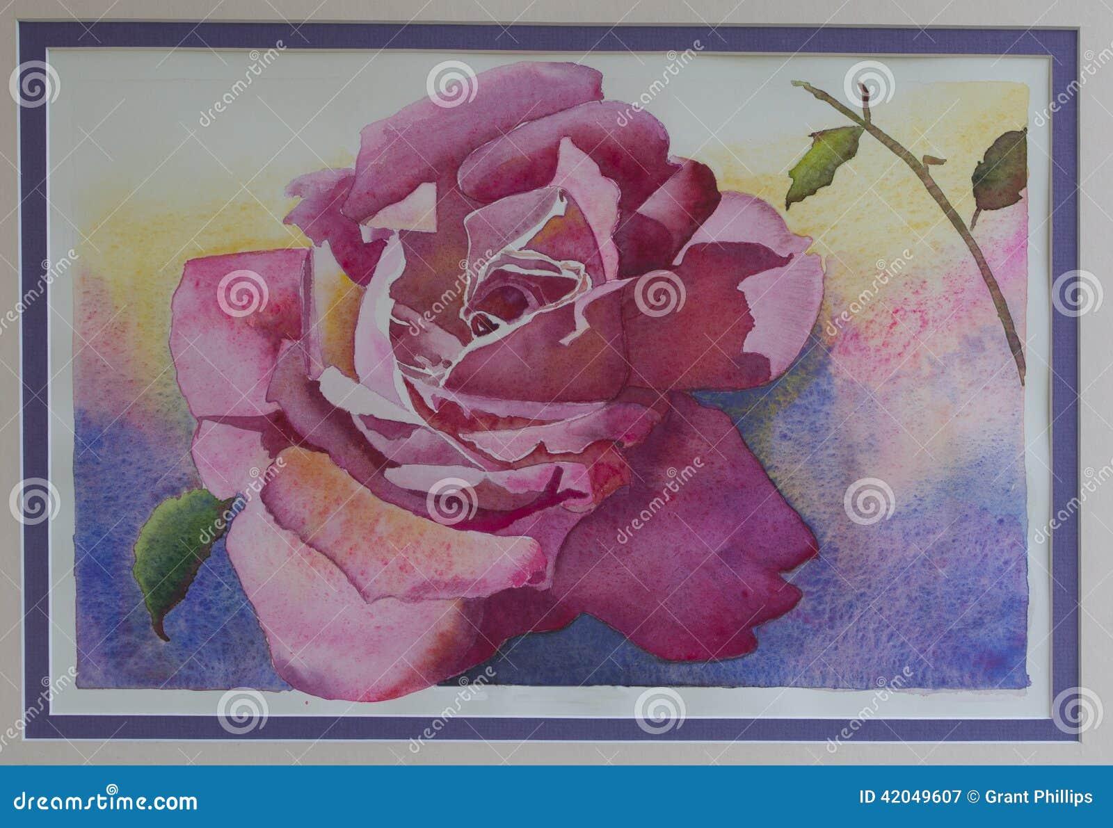 Pintura original da aquarela - única Rosa