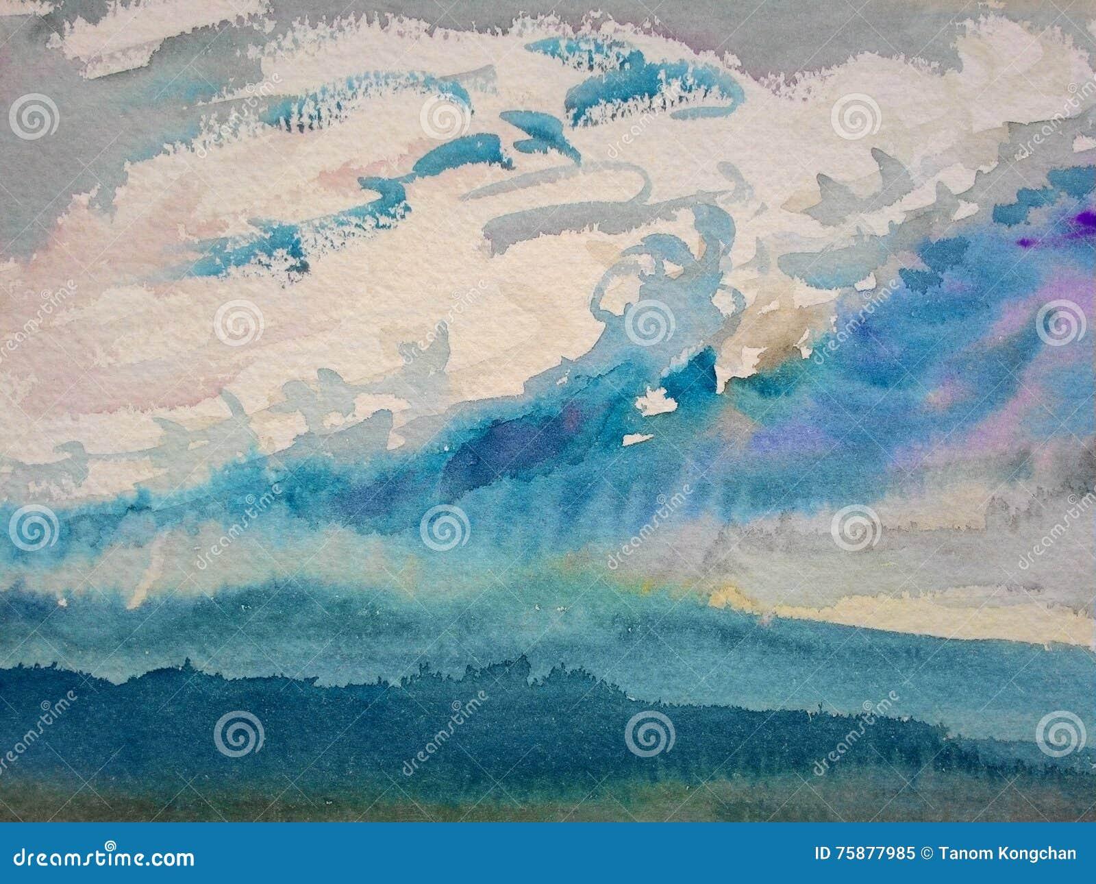 Pintura original de la acuarela, pintura de paisaje colorida