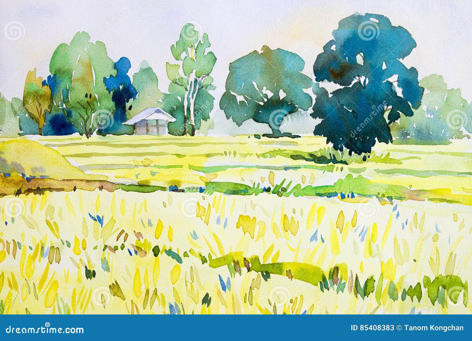 Pintura original del paisaje de la acuarela colorida de la cabaña, campo del arroz