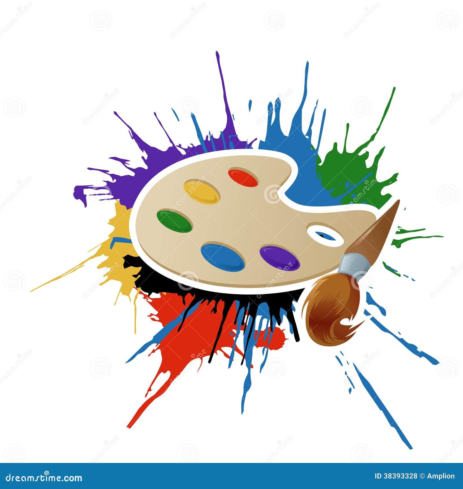 Pintura paleta y cepillo ilustraci n del vector - Paleta de colores pintura pared ...