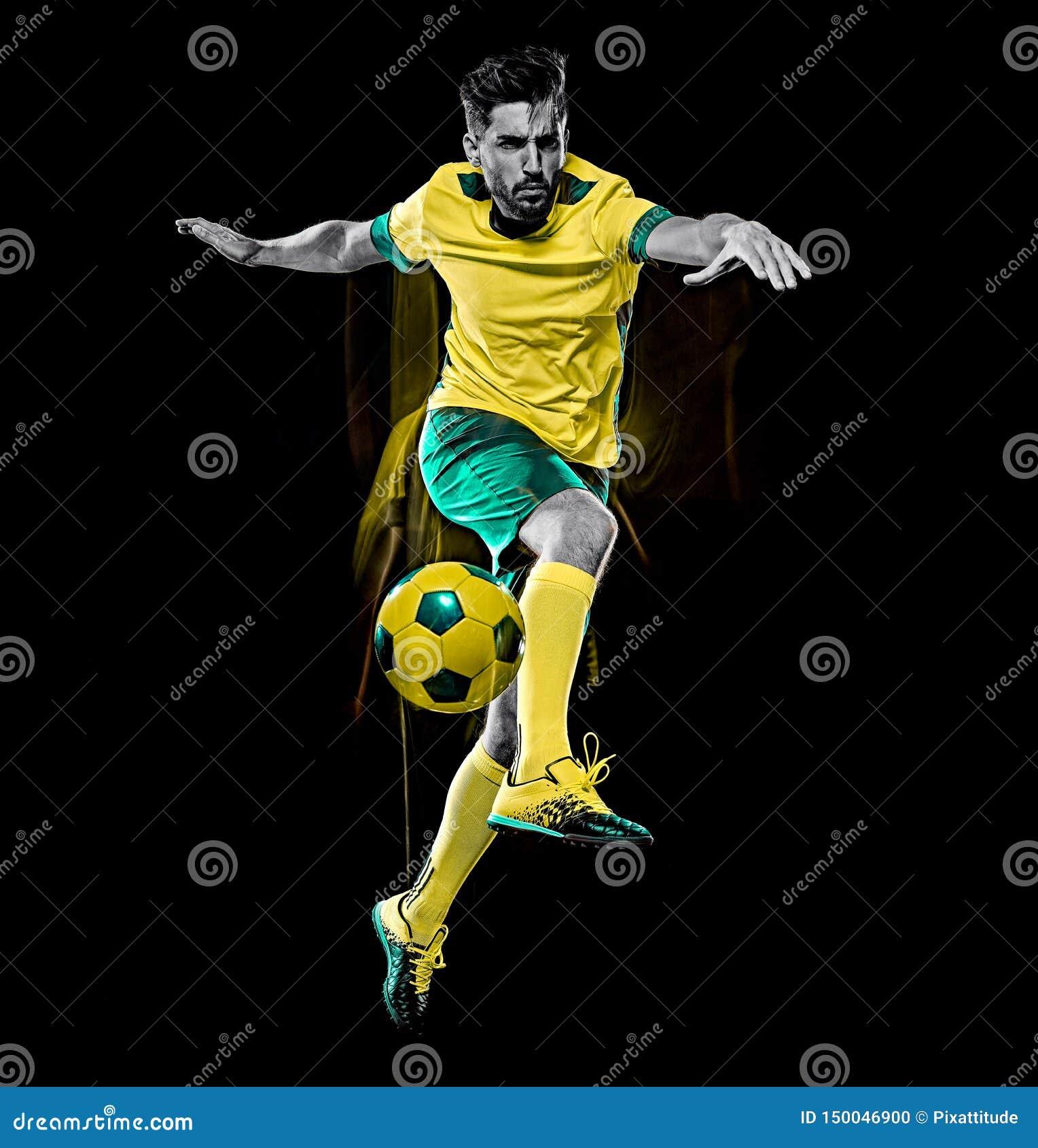 Pintura preta isolada da luz do fundo do jogador de futebol homem caucasiano