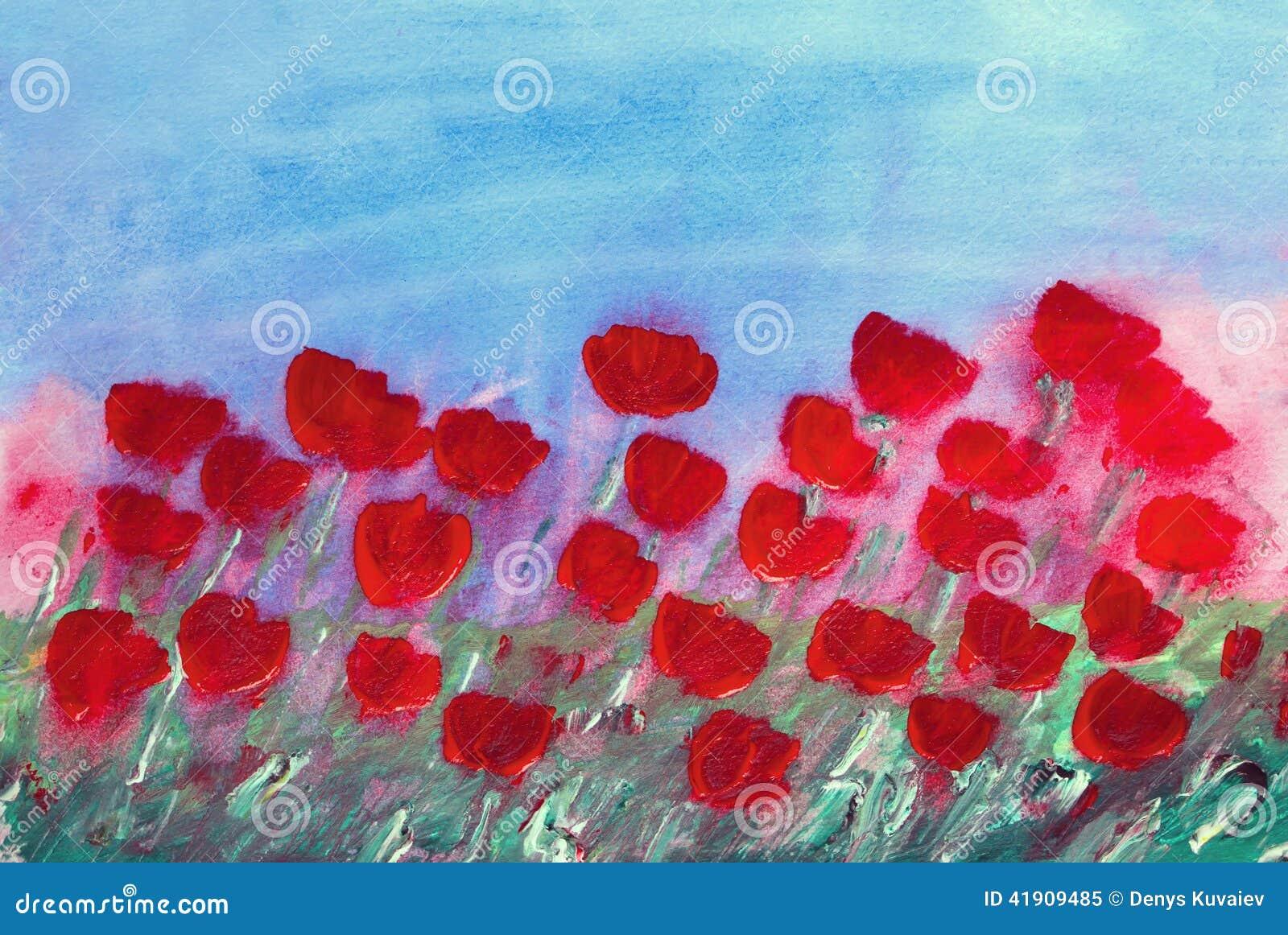 Pintura roja abstracta de las flores