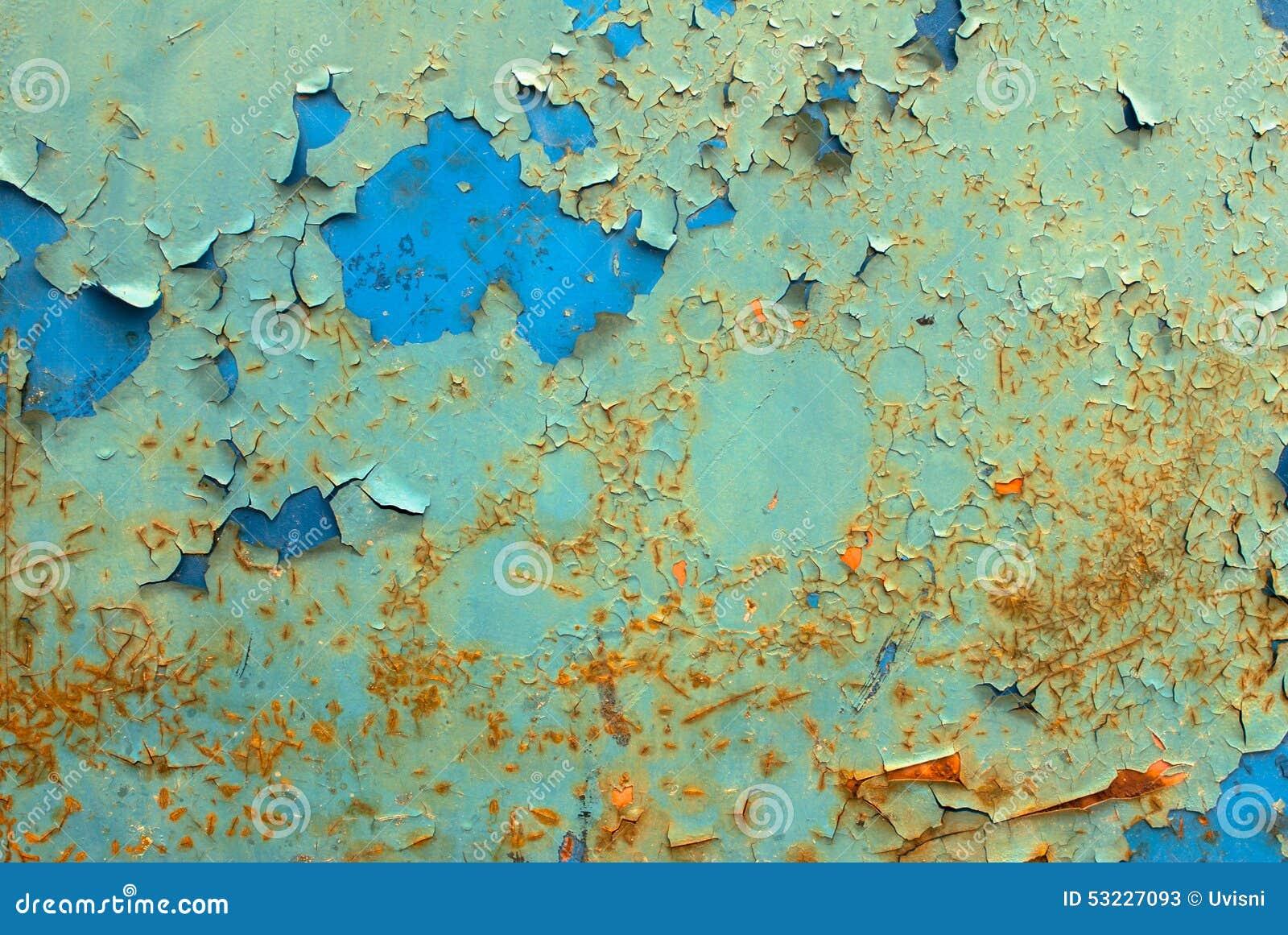 Pintura saltada en fondo de la textura de la superficie del hierro