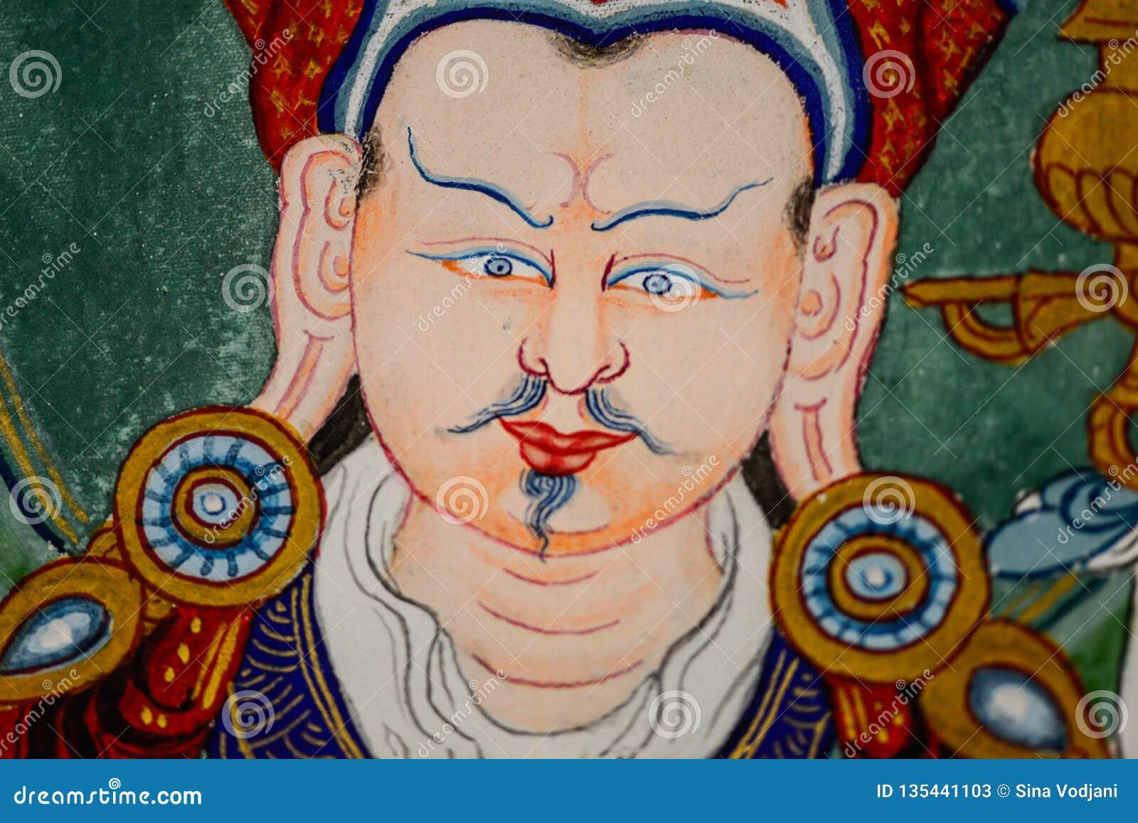 Pintura tibetana del thangka del retrato de Buda Padmasambhava, medicina Buda