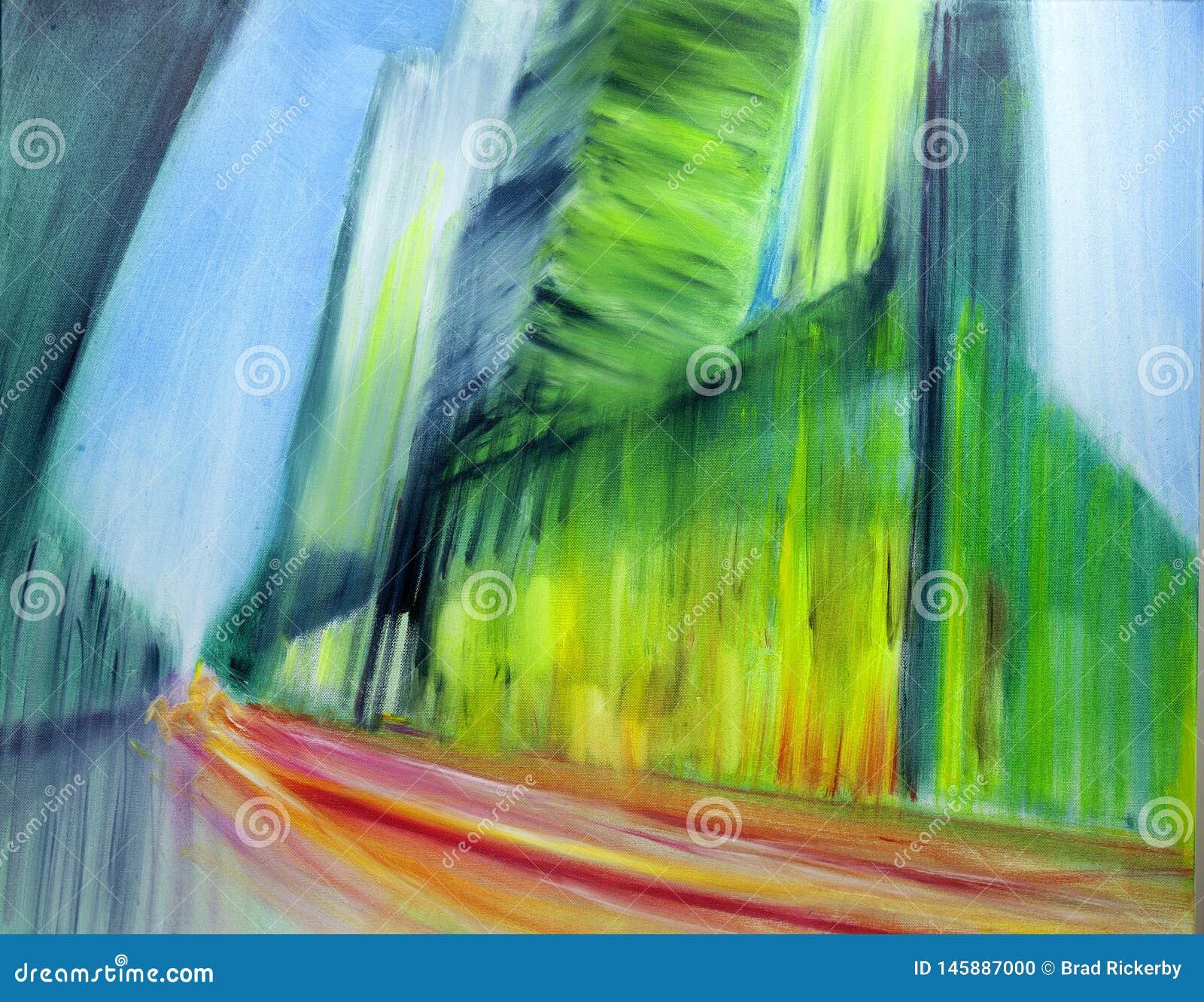 Pintura urbana contemporânea moderna da arquitetura da cidade do óleo do sumário