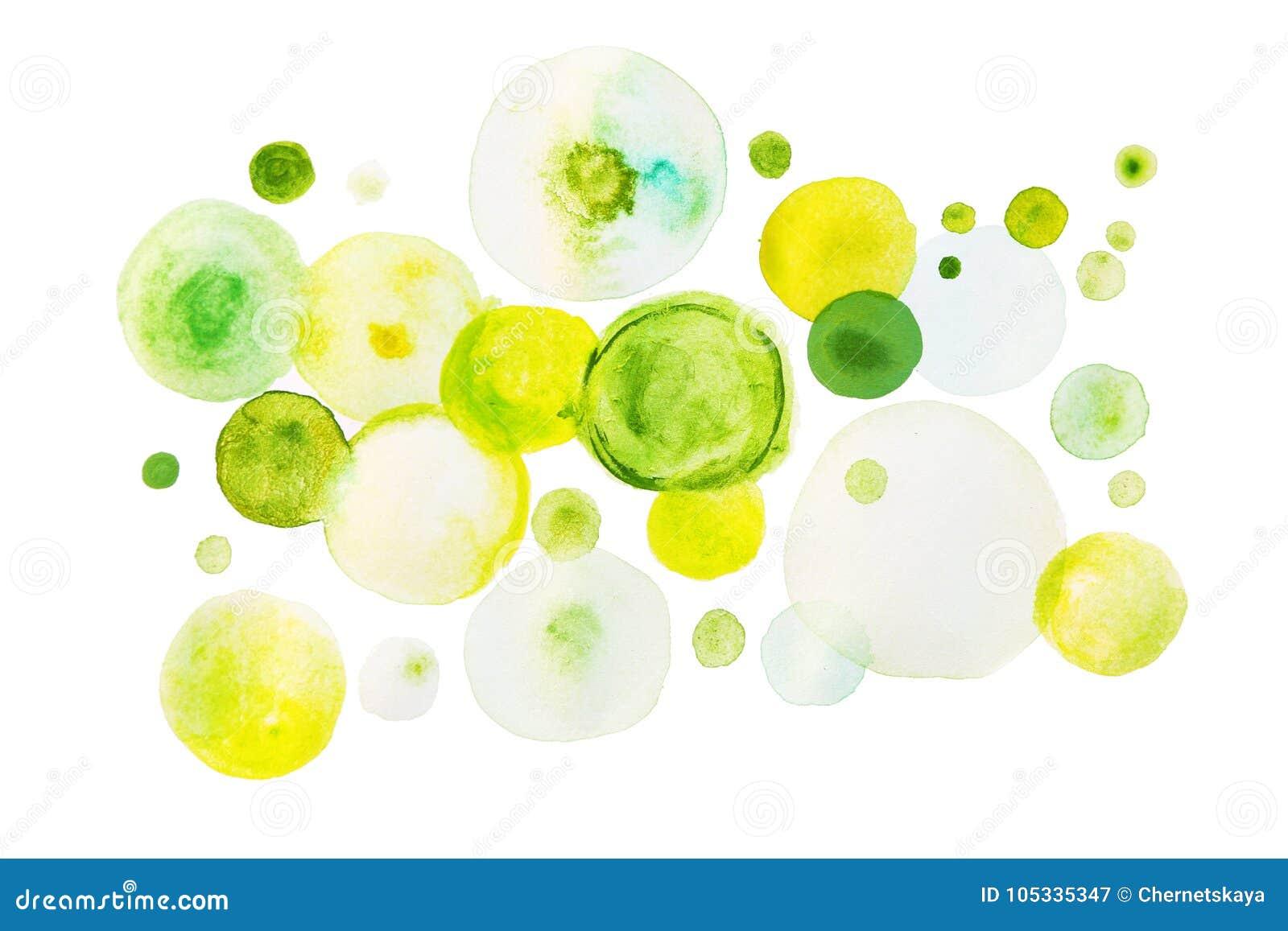 Pintura verde da aquarela na forma dos círculos