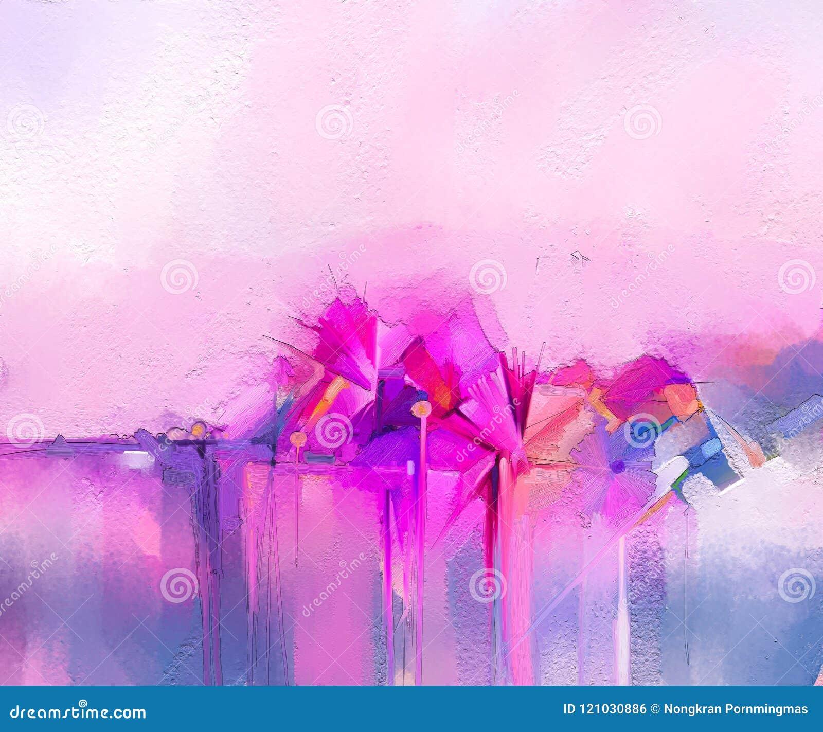 Pinturas a óleo da arte moderna para o fundo Imagem abstrata Semi- das flores, em cor-de-rosa e vermelho amarelos com cor azul