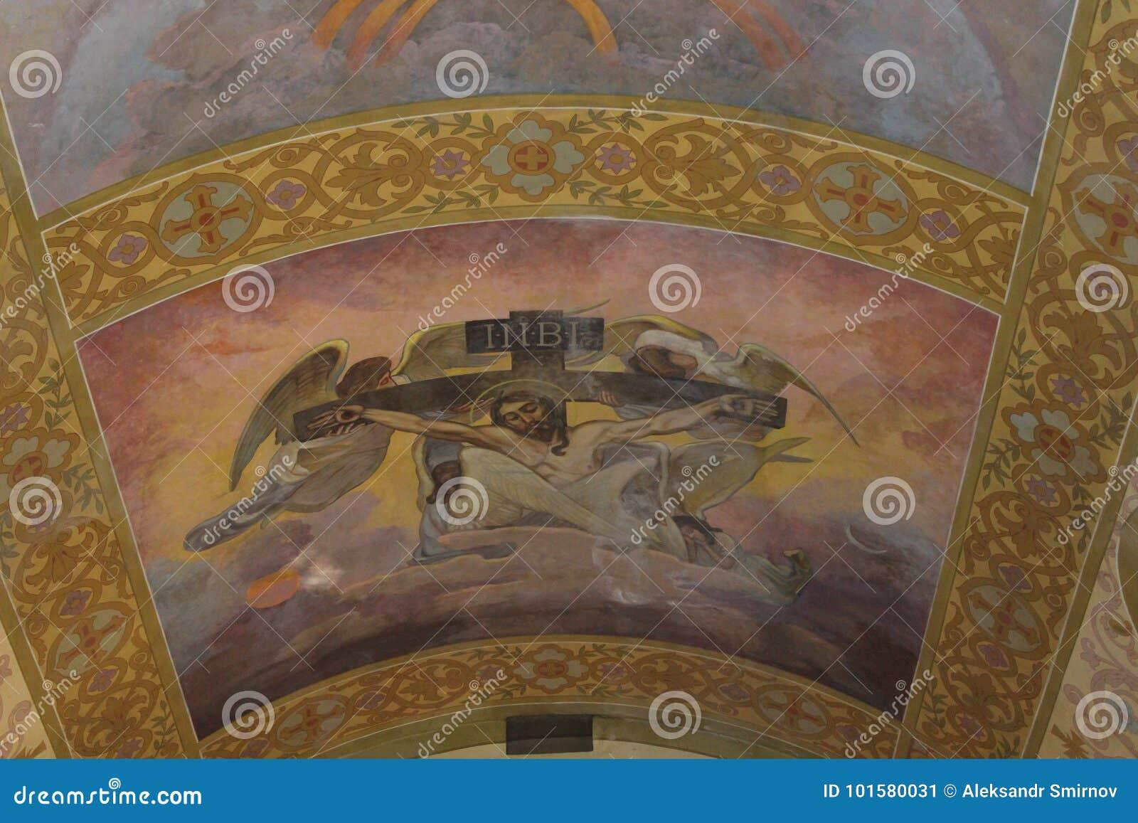 Pinturas Bonitas Nas Paredes Da Igreja Imagem De Stock Imagem De  -> Fotos De Paredes Bonitas