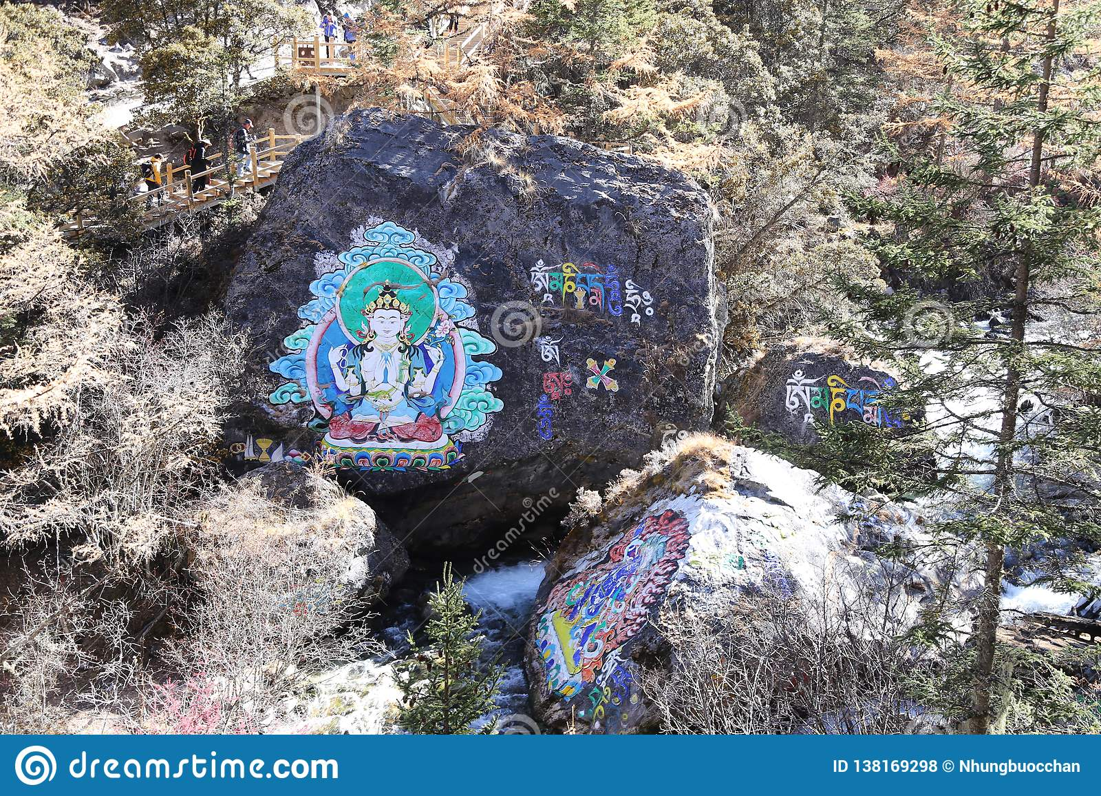 Pinturas budistas na reserva natural yading, Sichuan