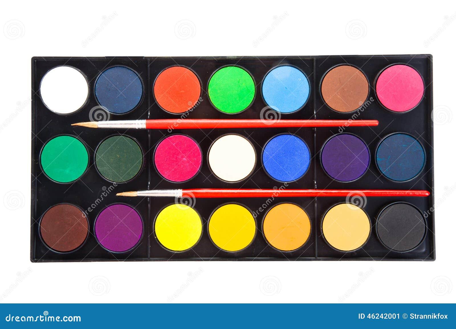 Pinturas coloridas de las acuarelas en paleta con los - Paleta de pinturas ...