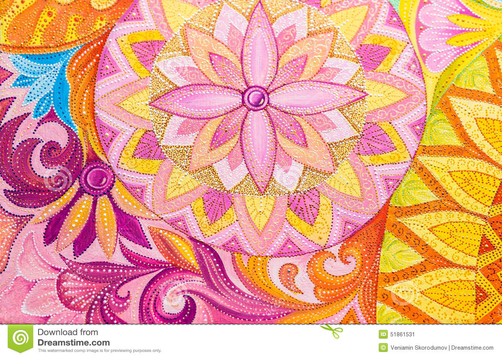 Pinturas de óleo abstratas do desenho em uma lona com ornamento floral