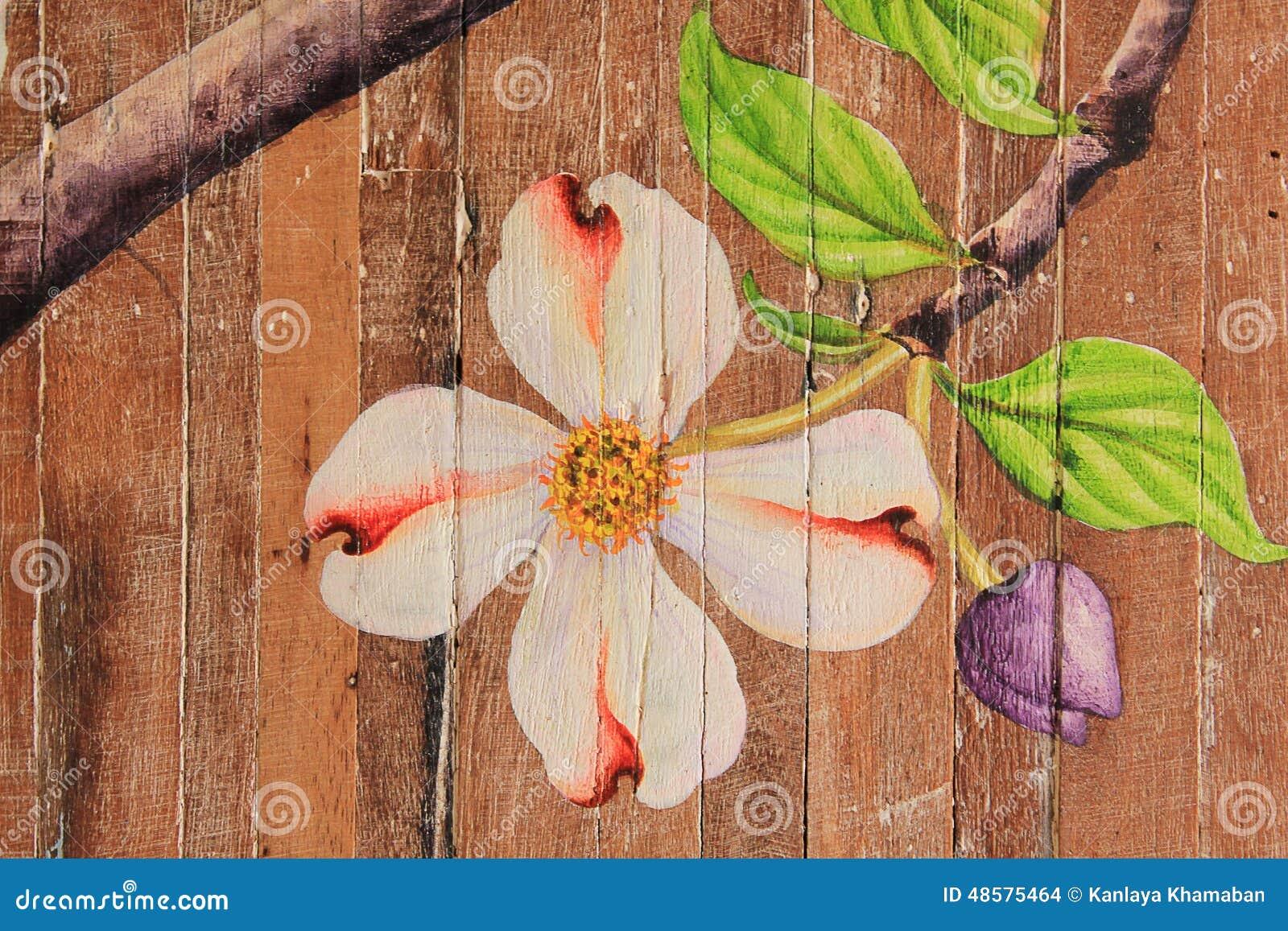 Pinturas de flores en los pisos de madera foto de archivo - Pinturas de madera ...