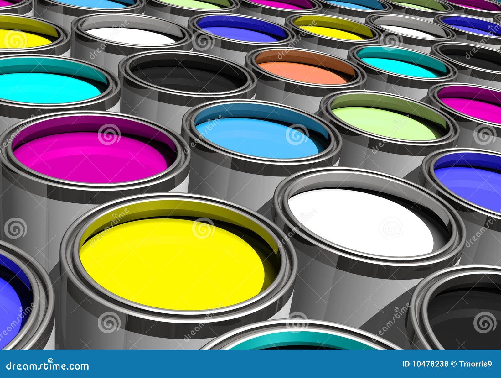 Pinturas de muitas cores inclinadas ilustra o stock for Pinturas bruguer colores