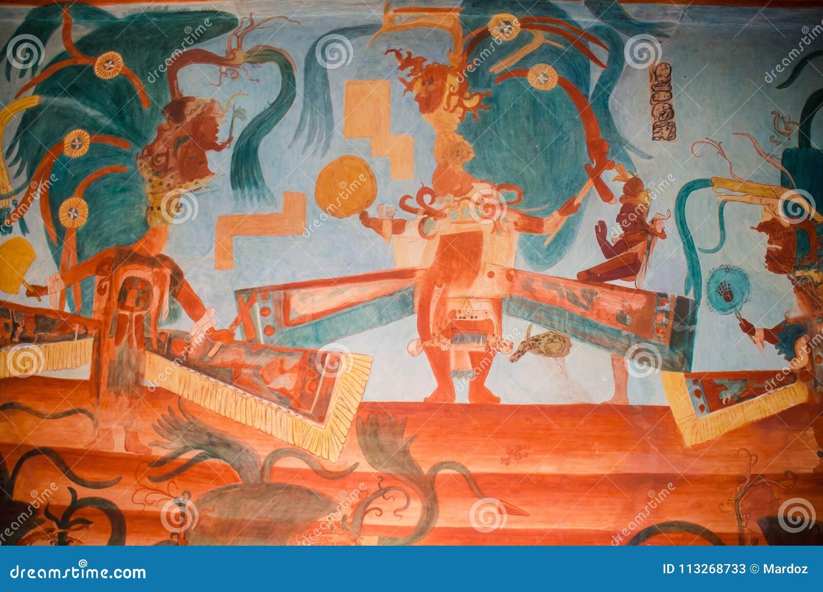 Pinturas Murales De Bonampak Que Describen Nobleza Imagen De Archivo