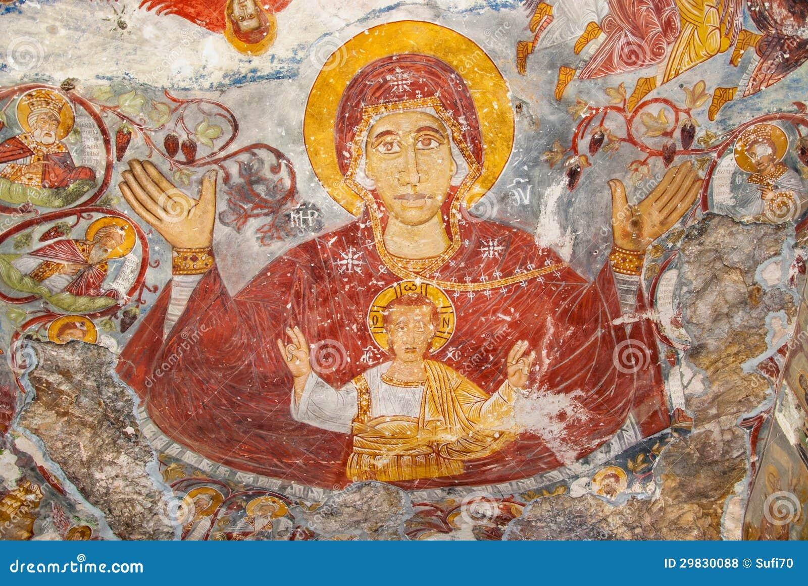 Pinturas religiosas no monastério de Sumela