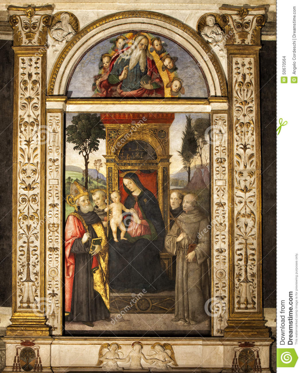 pinturicchio madonna und kind inthronisiert mit heiligen santa maria del popolo sch ne alte. Black Bedroom Furniture Sets. Home Design Ideas