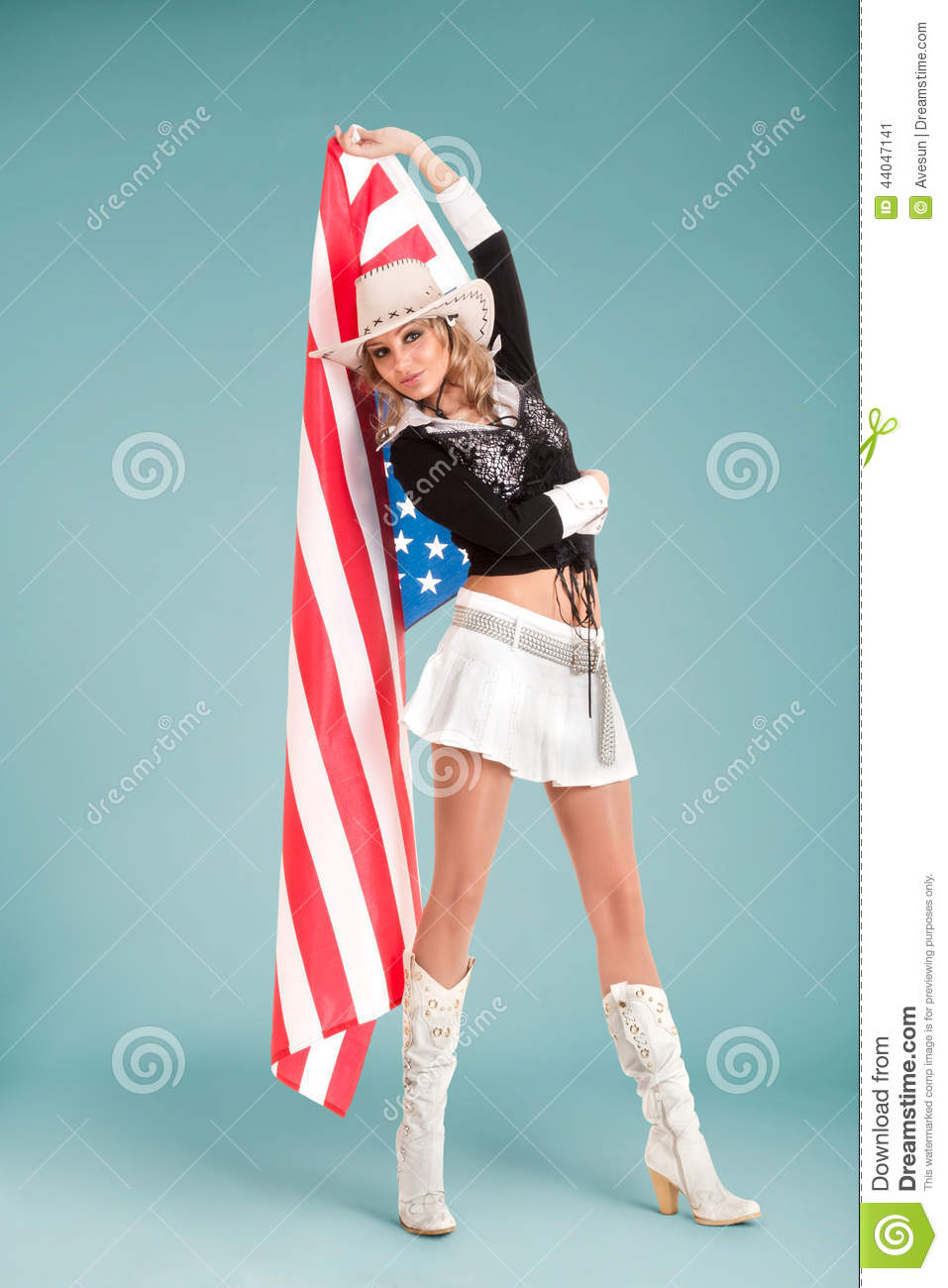 Pinup Girl With American Flag Stock Image Image Of American Gorgeous 44047141
