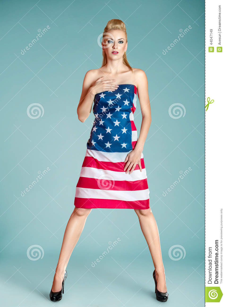 pinup girl with american flag stock image image of beauty american 44047149. Black Bedroom Furniture Sets. Home Design Ideas