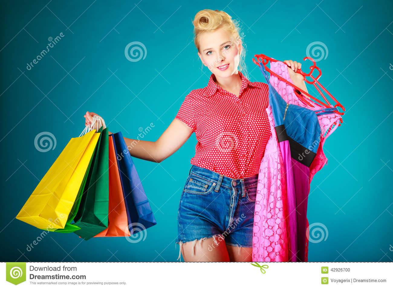 7378fd6923 Pinup Girl With Shopping Bags Buying Dress. Sale Stock Photo - Image ...