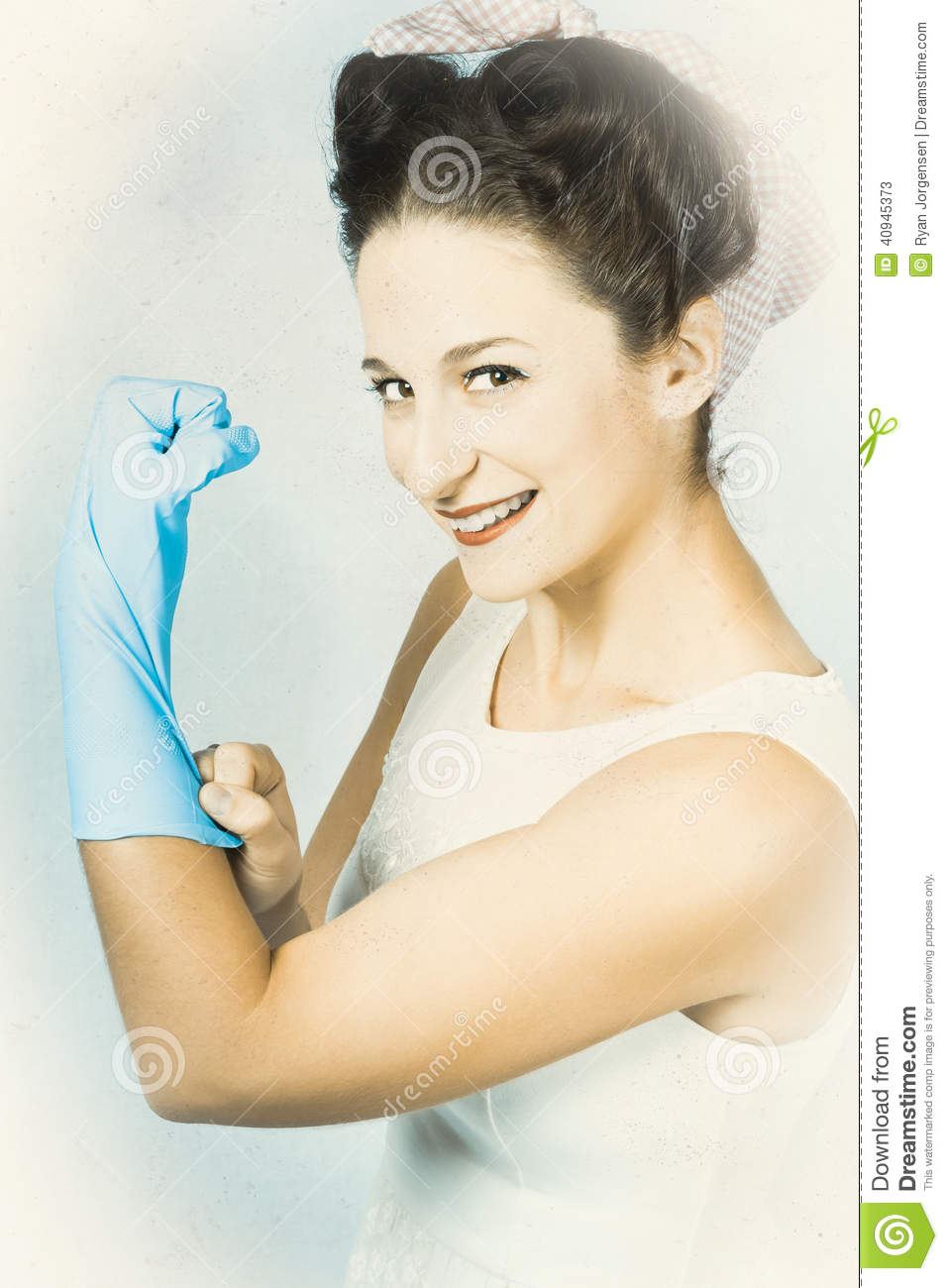 Pinup Housewife Flexing Muscles. Cleaning Strength Stock Photo - Image ...