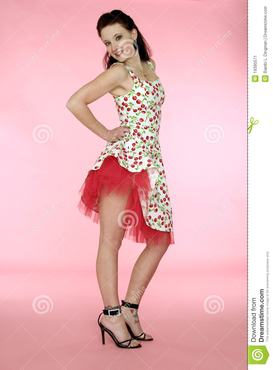 Pinup Woman In Cherry Dress Stock Image Image 19395571