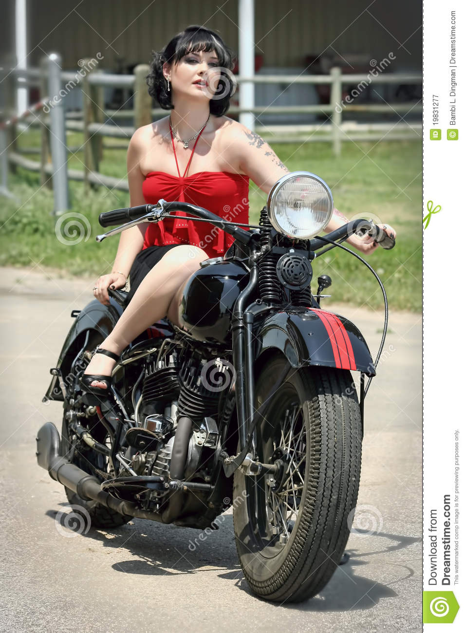 Pinup Woman And Motorcycle Royalty Free Stock Photography - Image ...