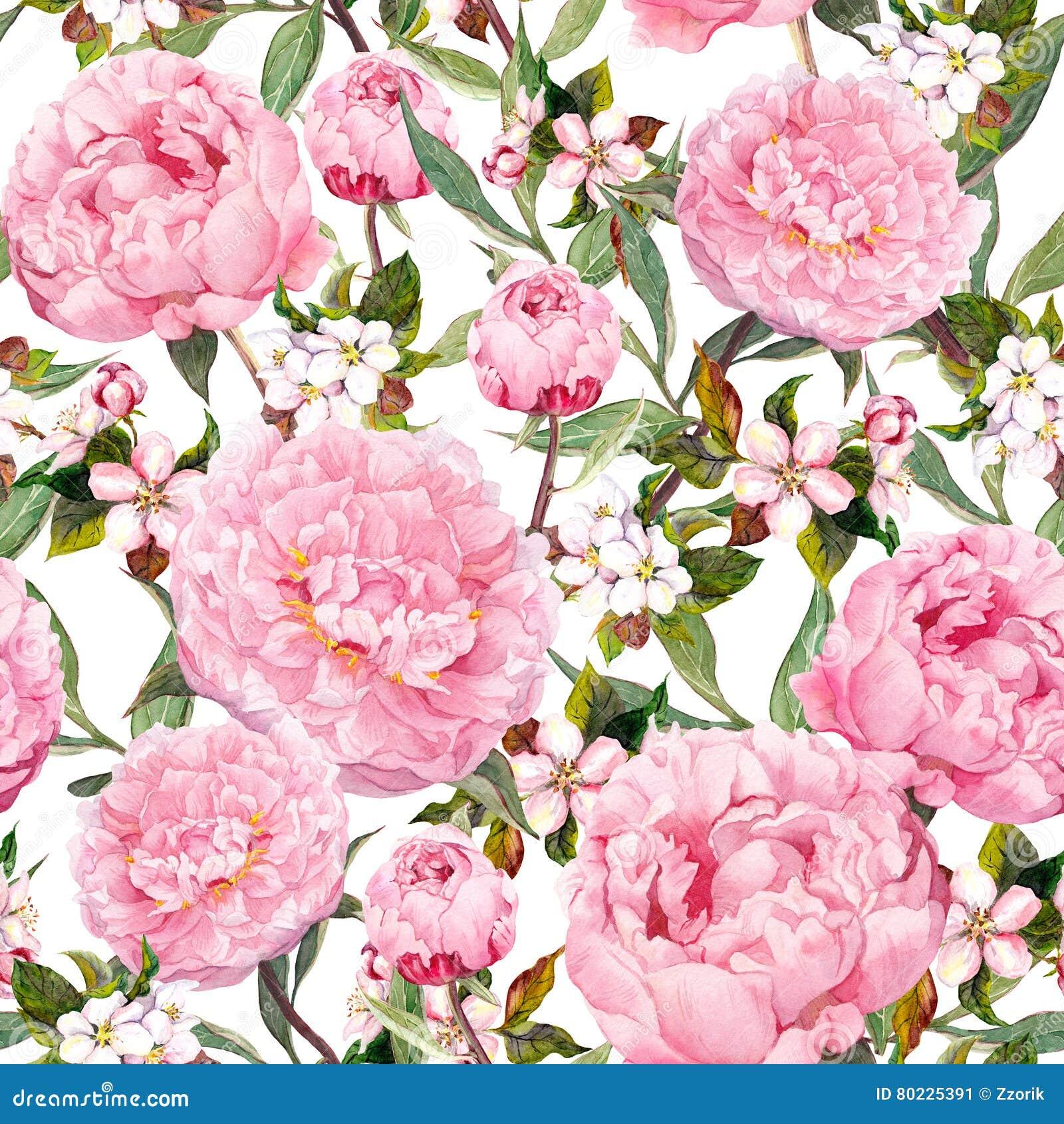 Pioenbloemen, sakura Bloemen naadloze achtergrond watercolor