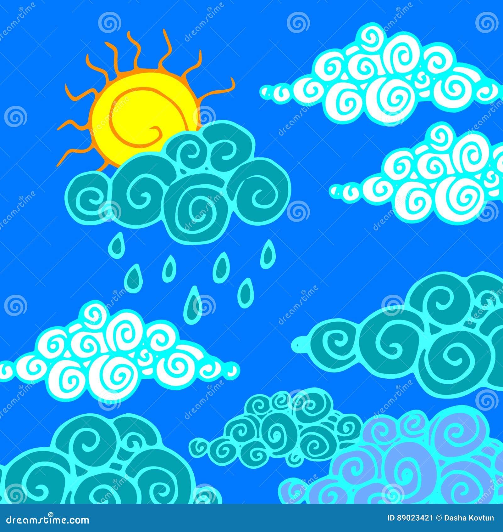 Pioggia della natura di clima del fondo del tempo del cielo di vettore