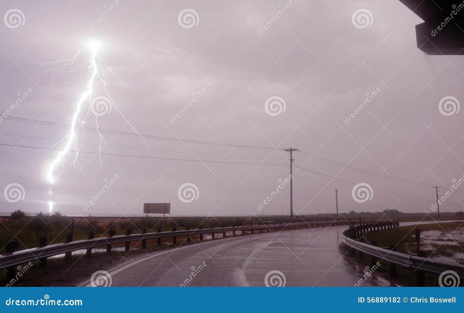 Pioggia orizzontalmente della baia di Texas Gulf Of Mexico West di temporale