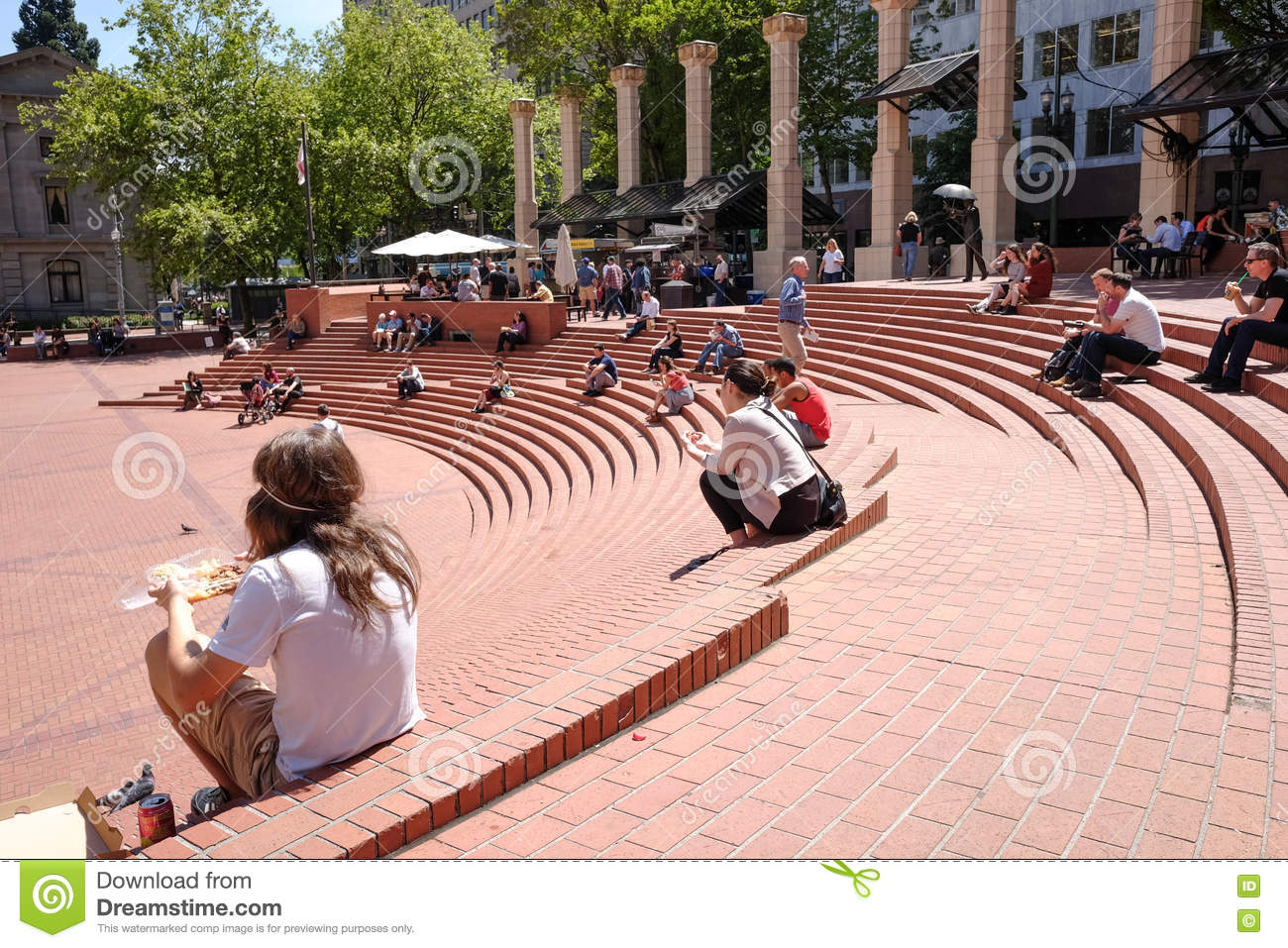 Pioneer Square on a sunny spring day