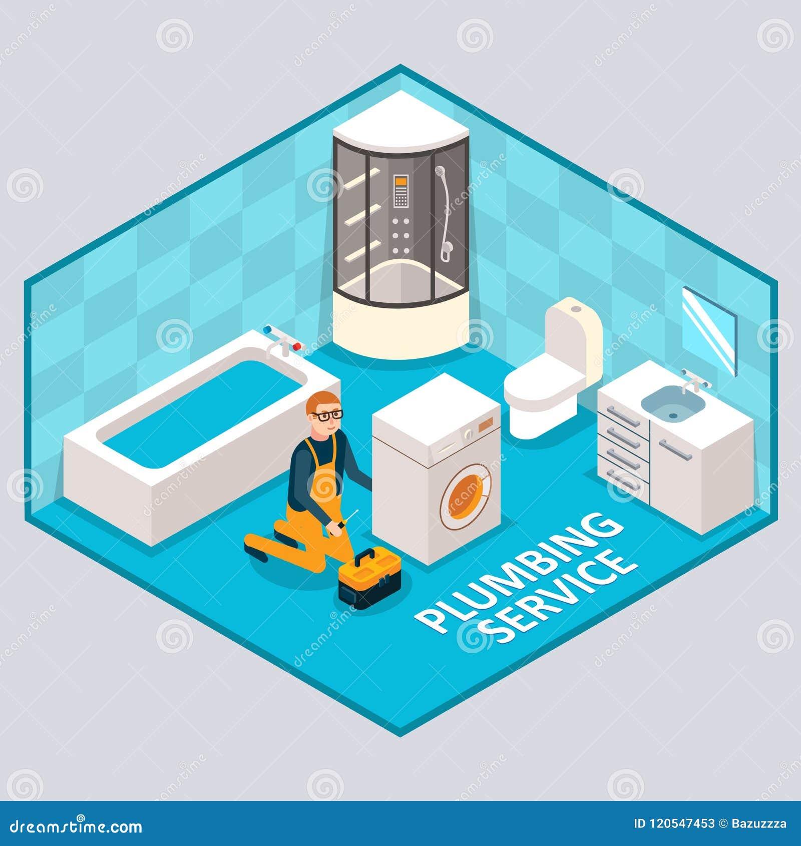 Pionować usługową wektorową isometric ilustrację