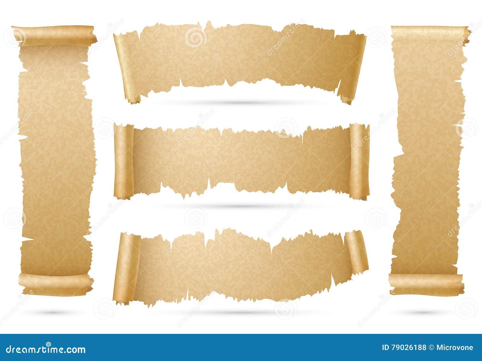 Pionowo i horyzontalny stary papierowy ślimacznica faborku sztandarów wektoru set