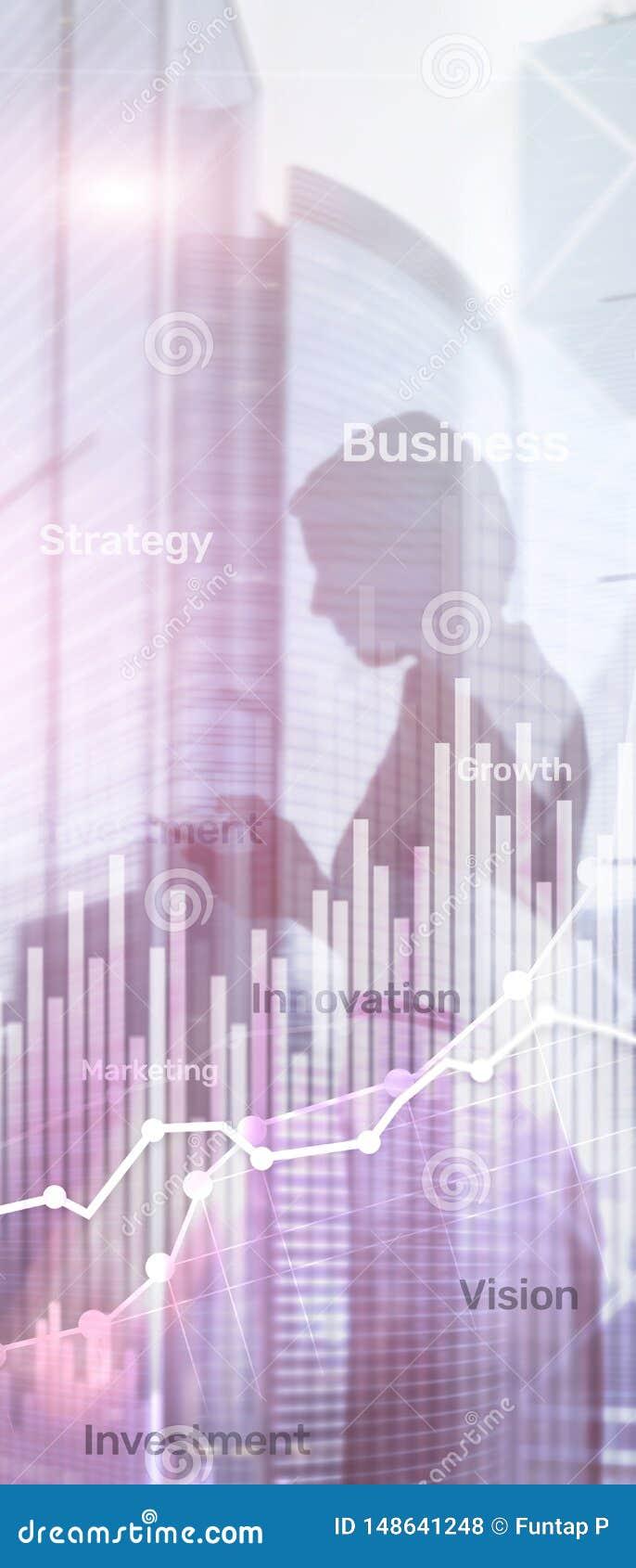 Pionowo panorama sztandar Biznesowy abstrakcjonistyczny t?a dwoistego ujawnienia wykres, mapa i diagram, ?wiatowa mapa i globalny