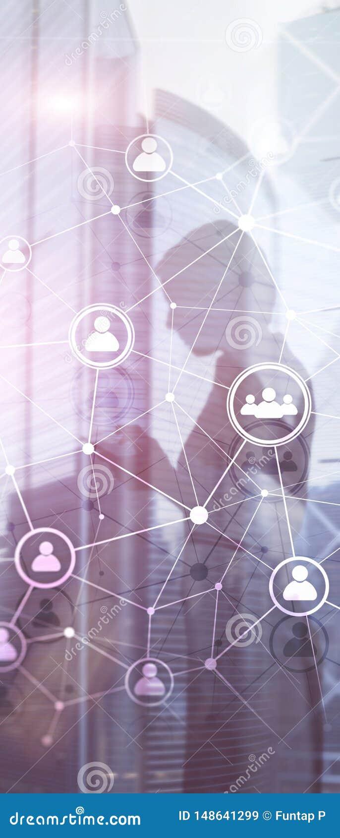 Pionowo panorama sztandar Dwoistego ujawnienia sieci structureÑŽÑŽ HR ludzie - dział zasobów ludzkich rekrutacja i zarządzanie