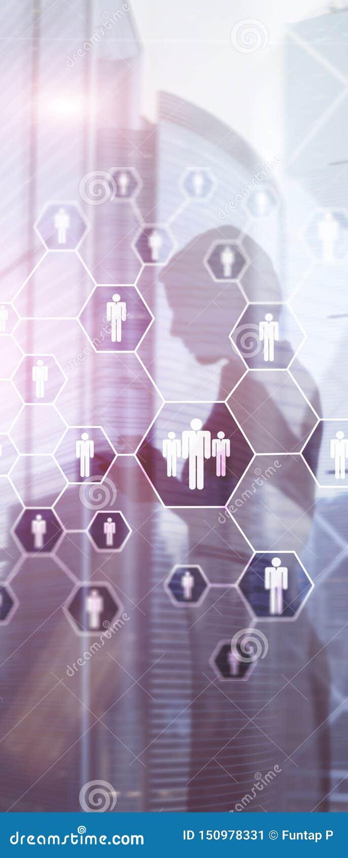 Pionowo panorama sztandar HR, struktura i socjalny sieci poj?cie, dzia??w zasob?w ludzkich, rekrutaci, Organisation,