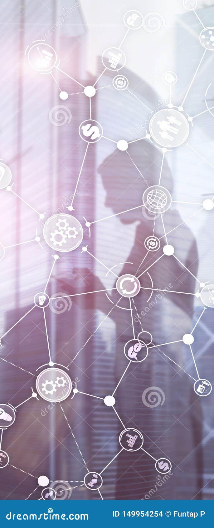 Pionowo panorama sztandar Rozwój biznesu struktury obieg diagrama automatyzacji innowacji przemysłowy pojęcie na wirtualnym ekran