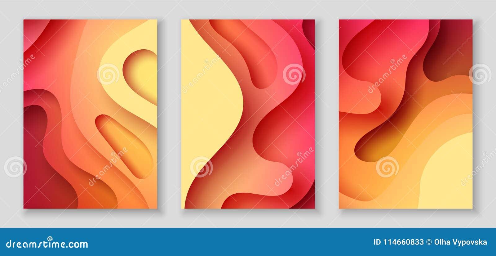 Pionowo A4 ulotki z 3D abstrakcjonistycznym tłem z papier rżniętą czerwienią machają Wektorowy projekta układ