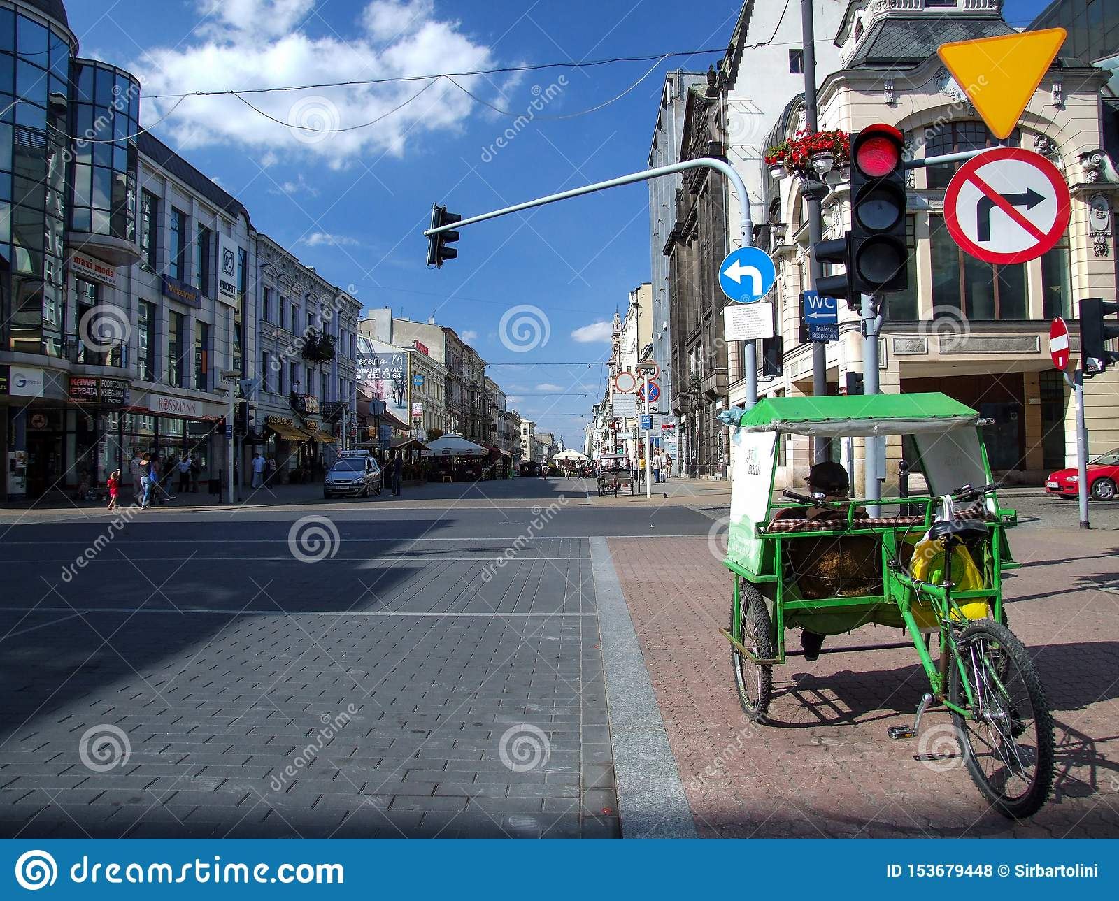 Rickshaw parked on crossroad of Piotrowska and Tuwima streets in Lodz in Poland.