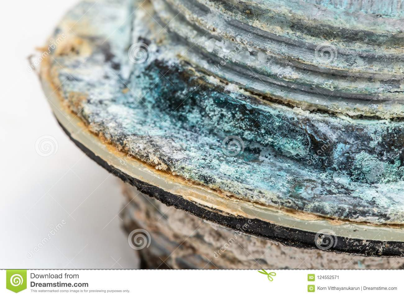 Pipe corrosion and copper sulfate rusty from water mineral