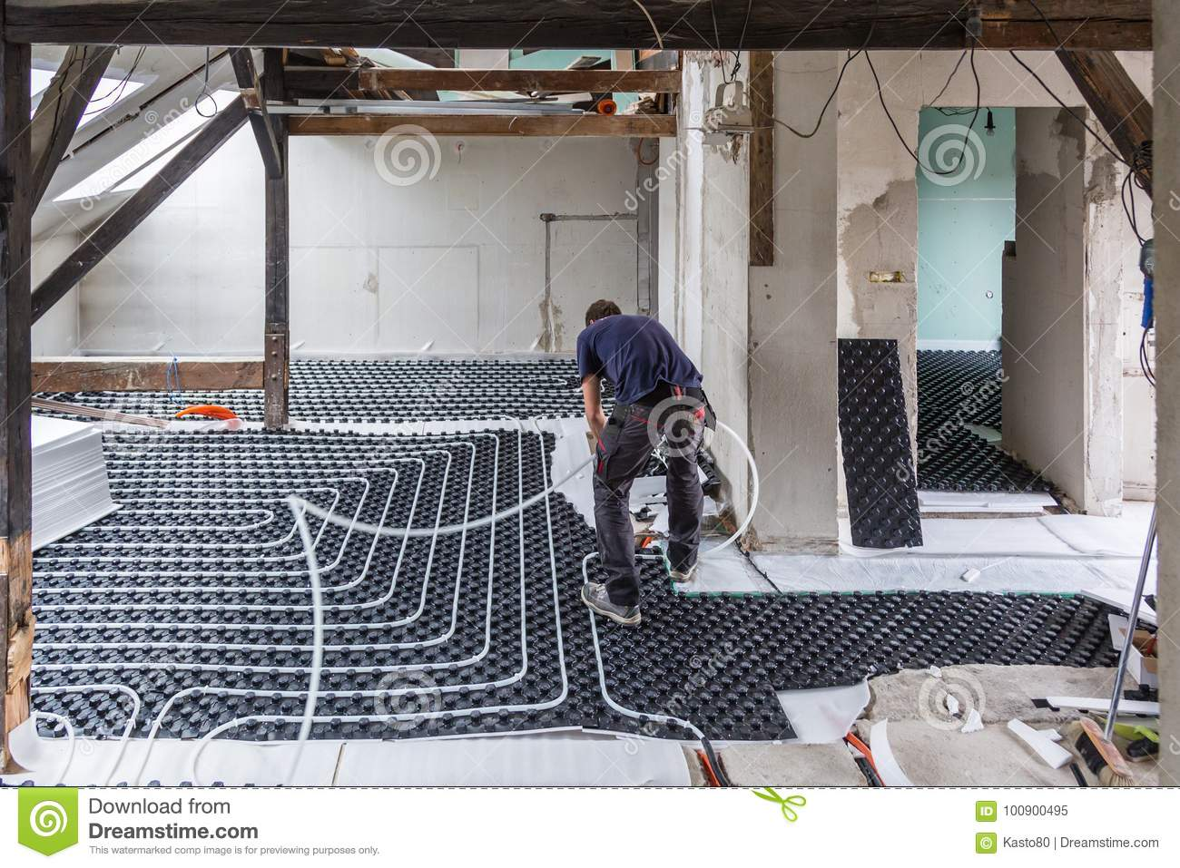 Pipe Fitter Mounting Underfloor Heating Stock Image Image Of